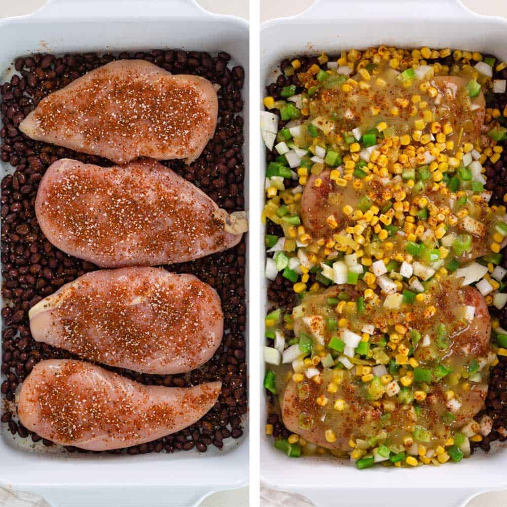 photo collage shows the making of a baked chicken breast dinner