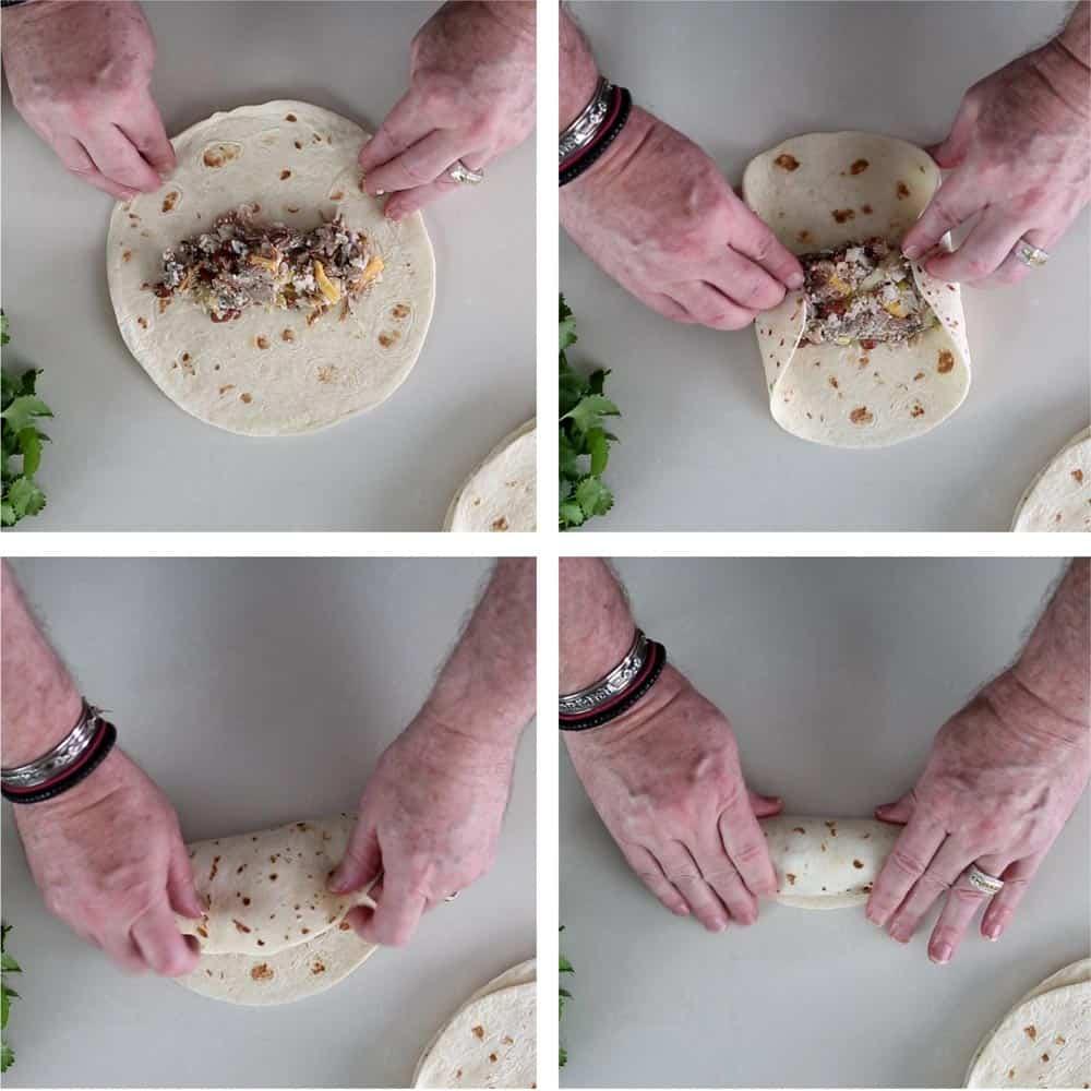 step photos of rolling enchiladas