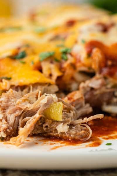 close up of Carnitas Enchiladas