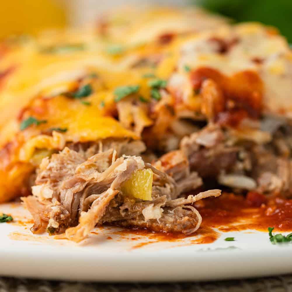 close up of pork Carnitas Enchiladas