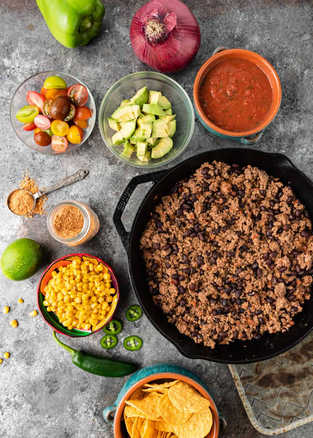 ingredients to make a taco salad