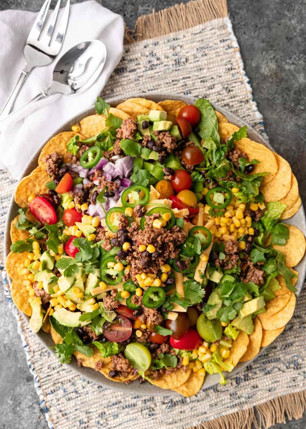 overhead photo of taco salad