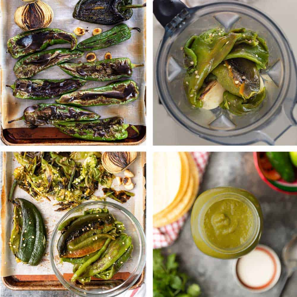 photo collage shows how to roast green chile peppers