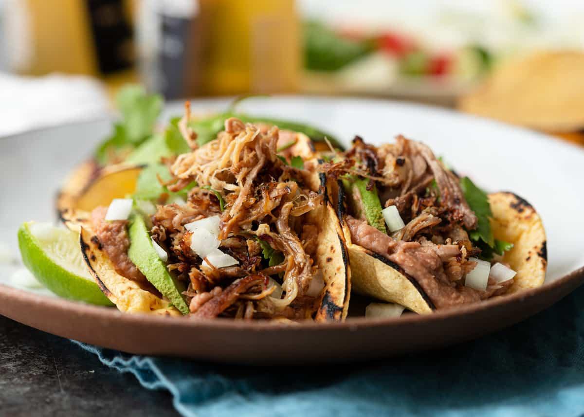 Homemade Carnitas tacos on plate