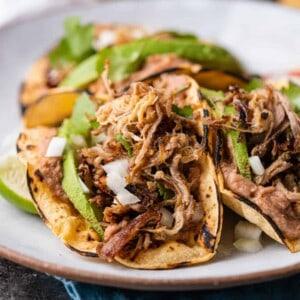close up: tacos made with instant pot pork carnitas