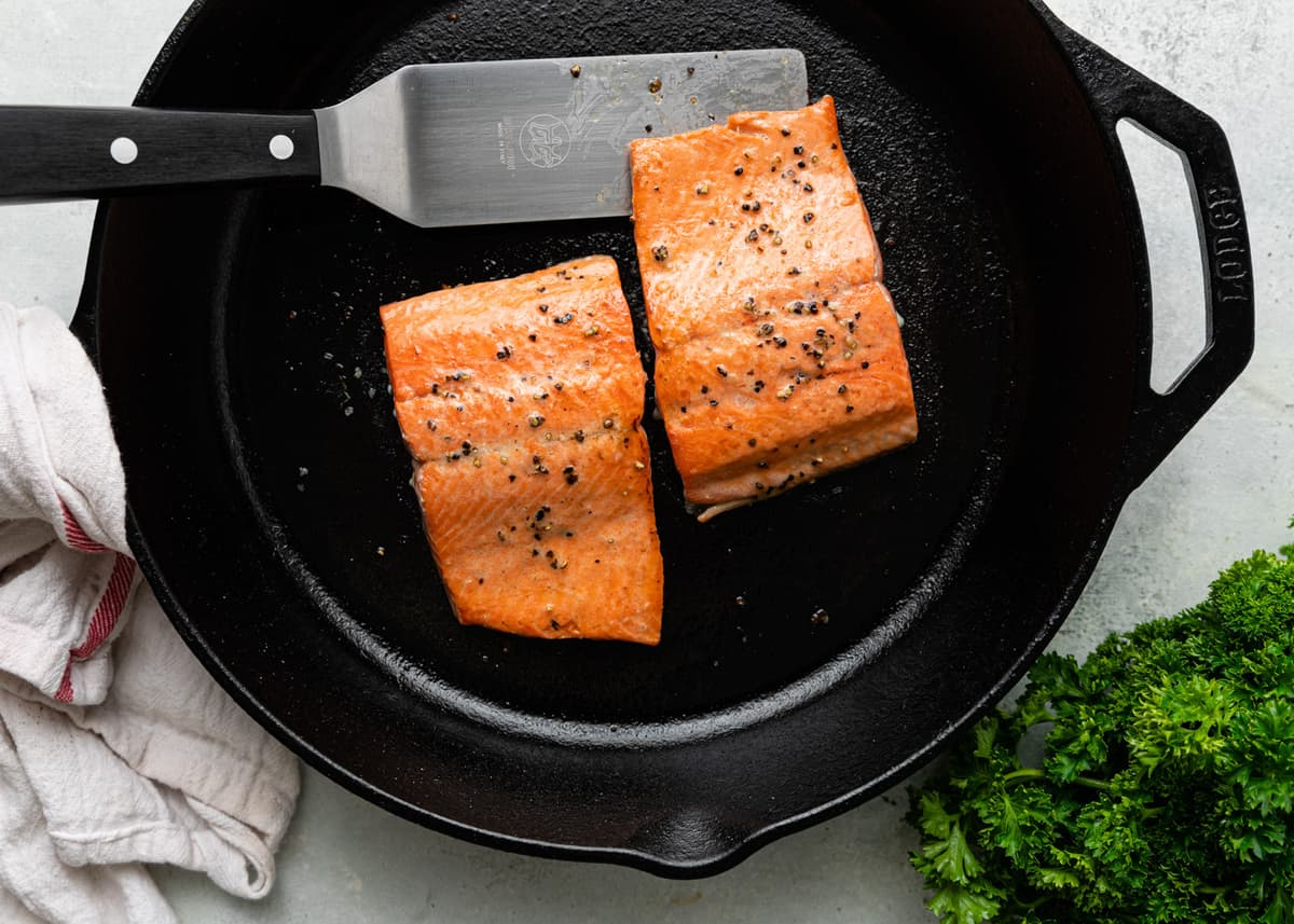 salmon filets in cast iron skillet