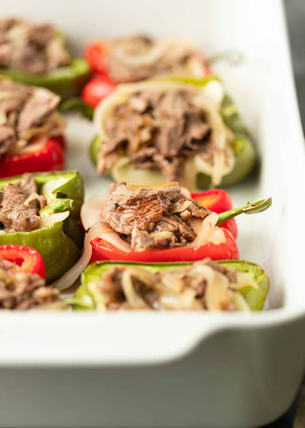 steak and onion stuffe dpeppers