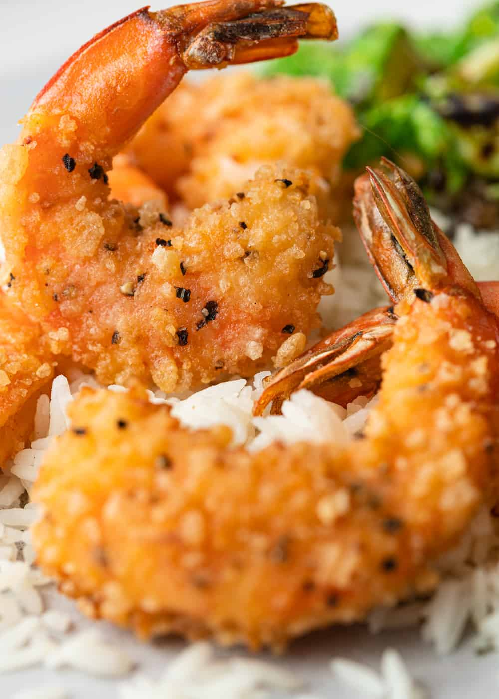 close up of fried shrimp