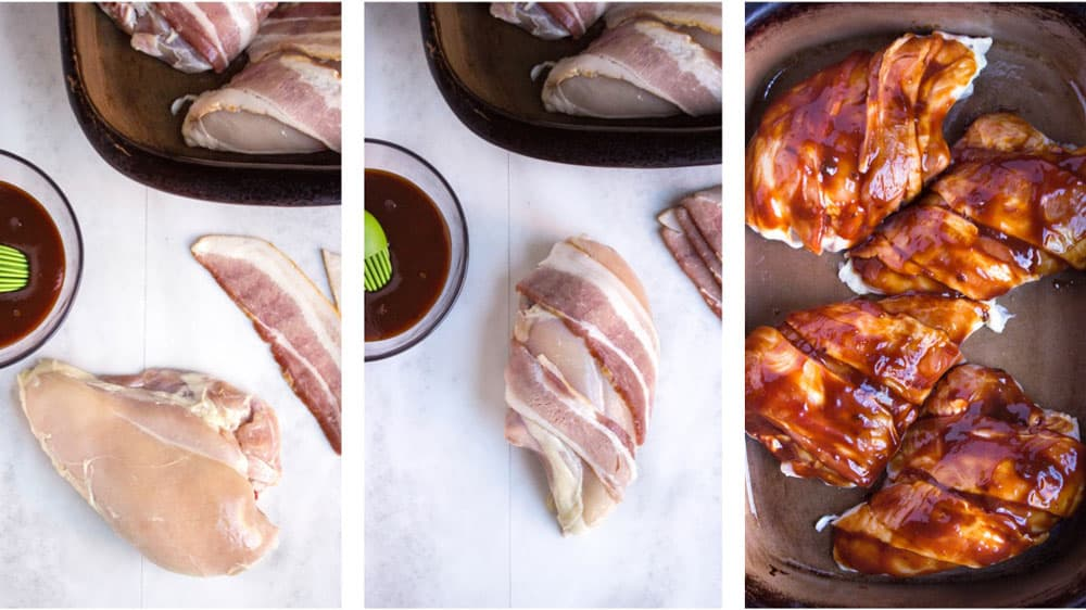 step photos to make Bacon Wrapped Chicken