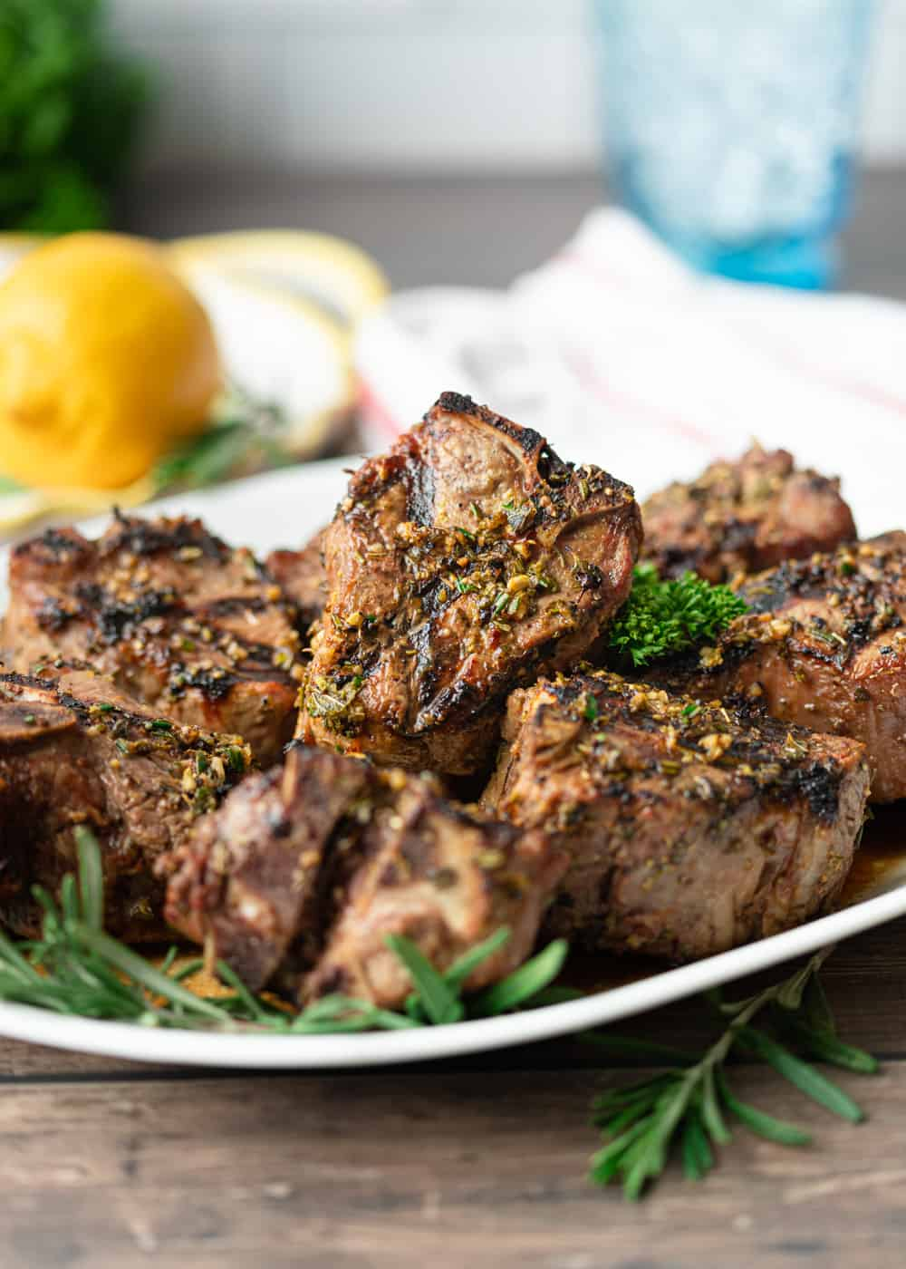 Greek Lamb Loin Chops on a plate