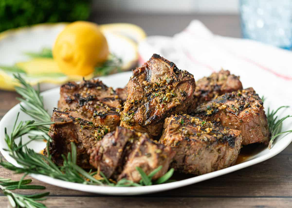 Greek Grilled Lamb Loin Chops on a plate