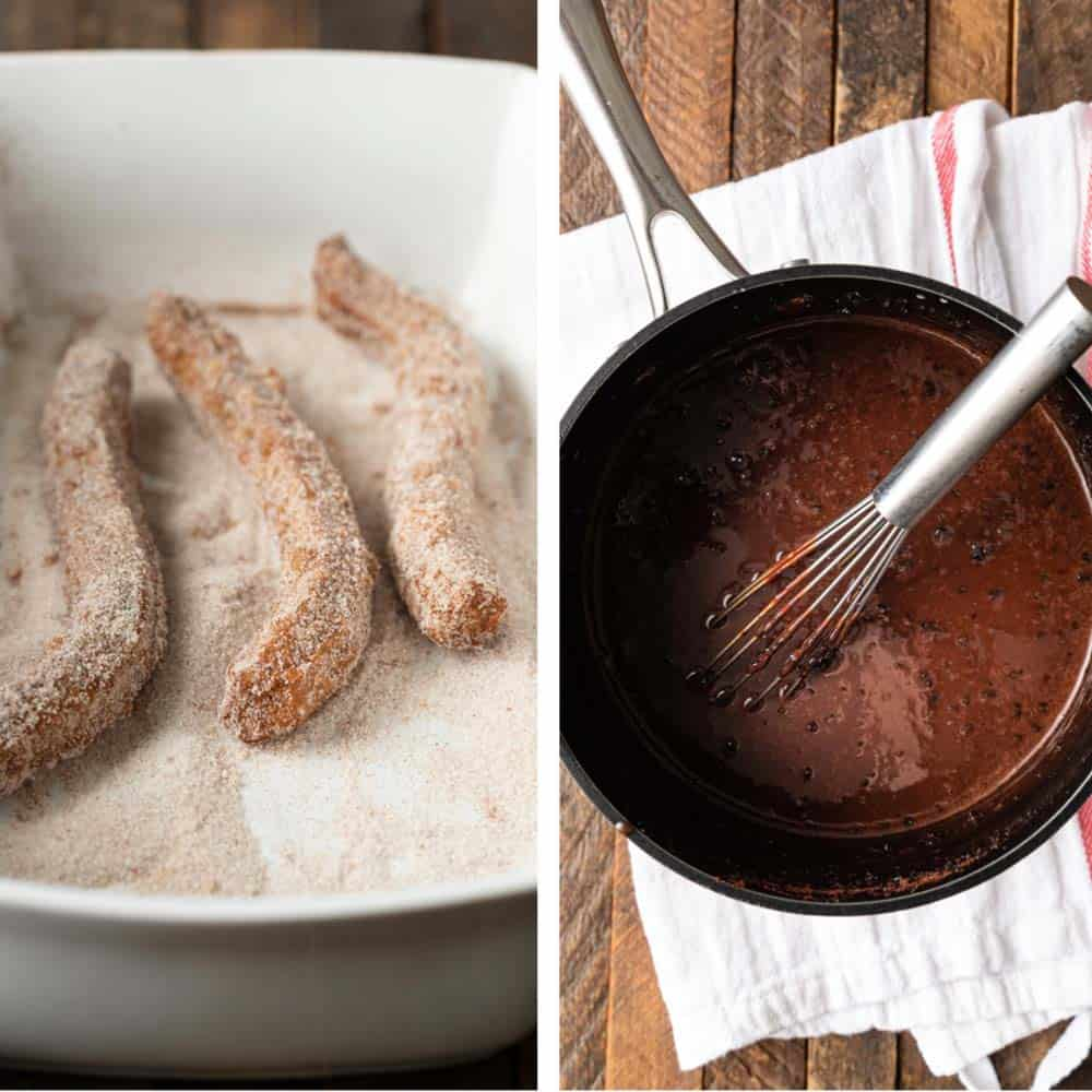 photo collage shows how to make churros and chocolate dipping sauce