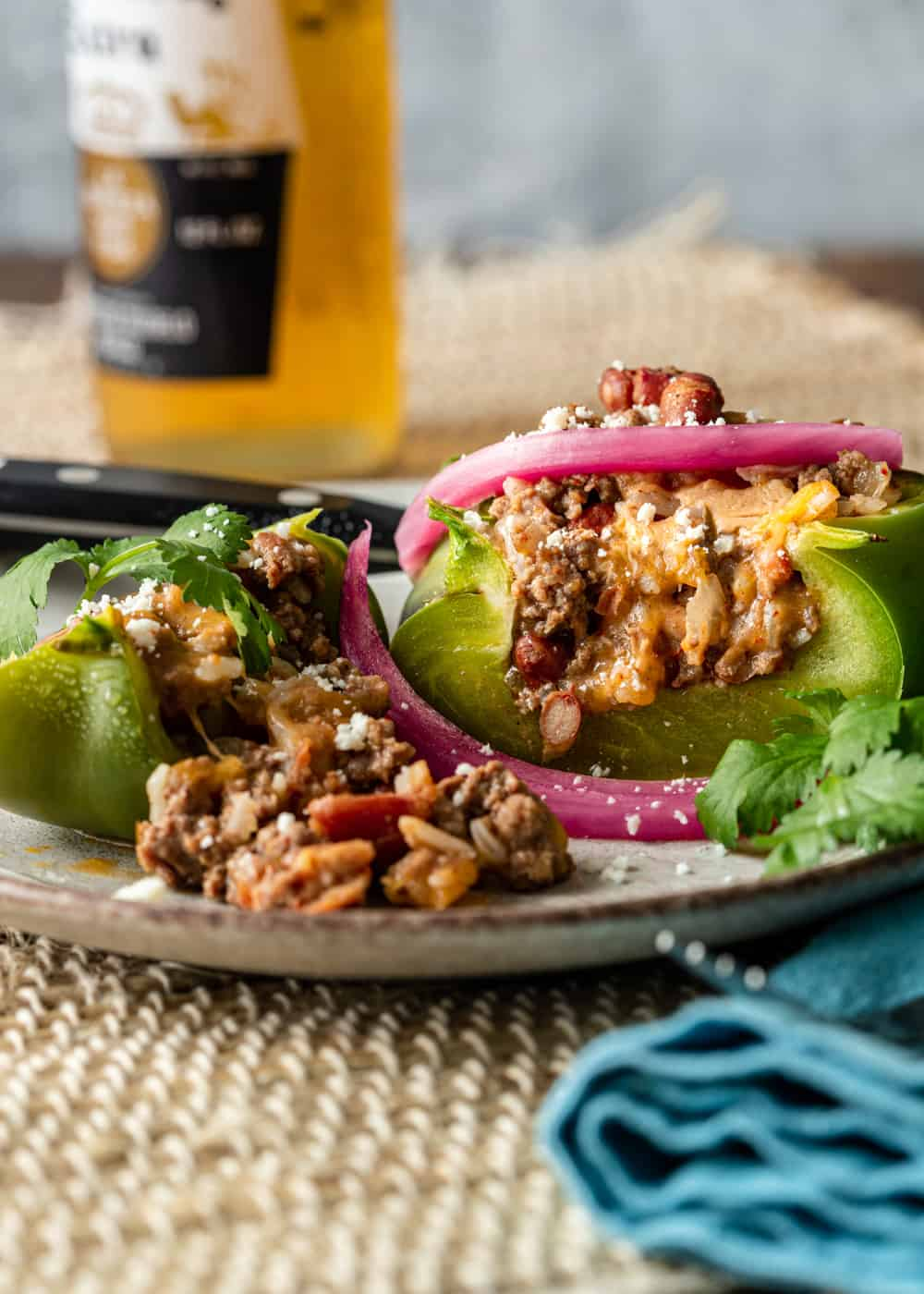 Mexican stuffed bell peppers dinner on a plate