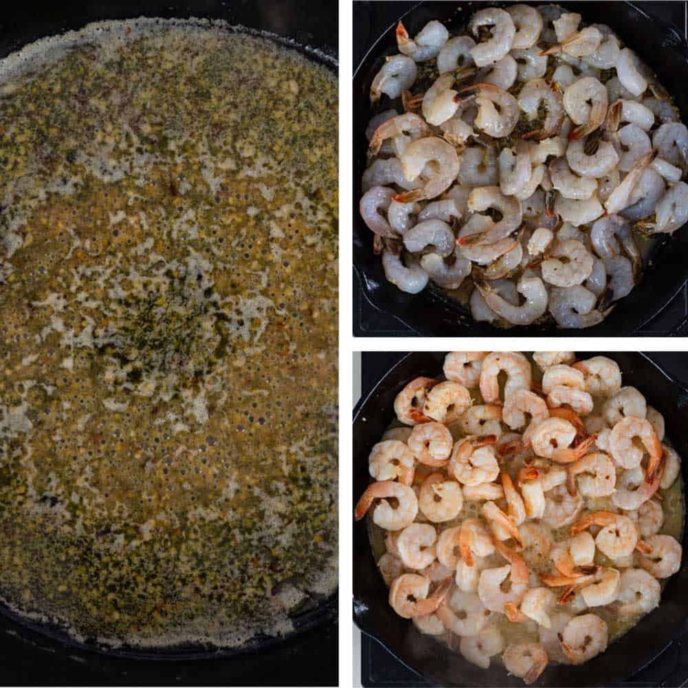 photo collage shows how to saute shrimp in garlic butter