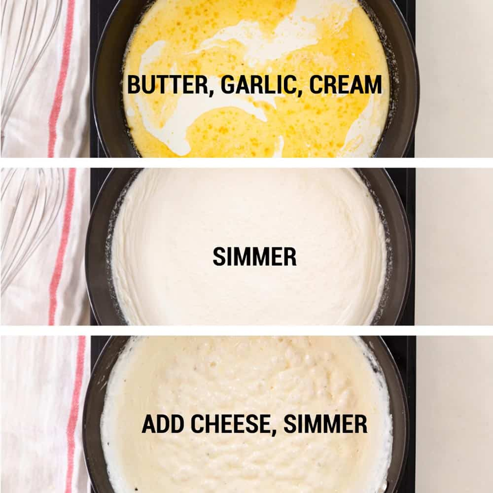 stages of simmering alfredo sauce