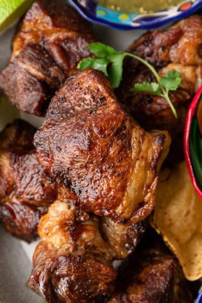 close up of fried carnitas