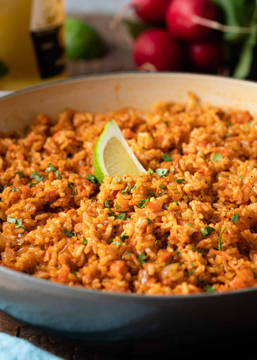 fluffy Mexican red rice in large pot