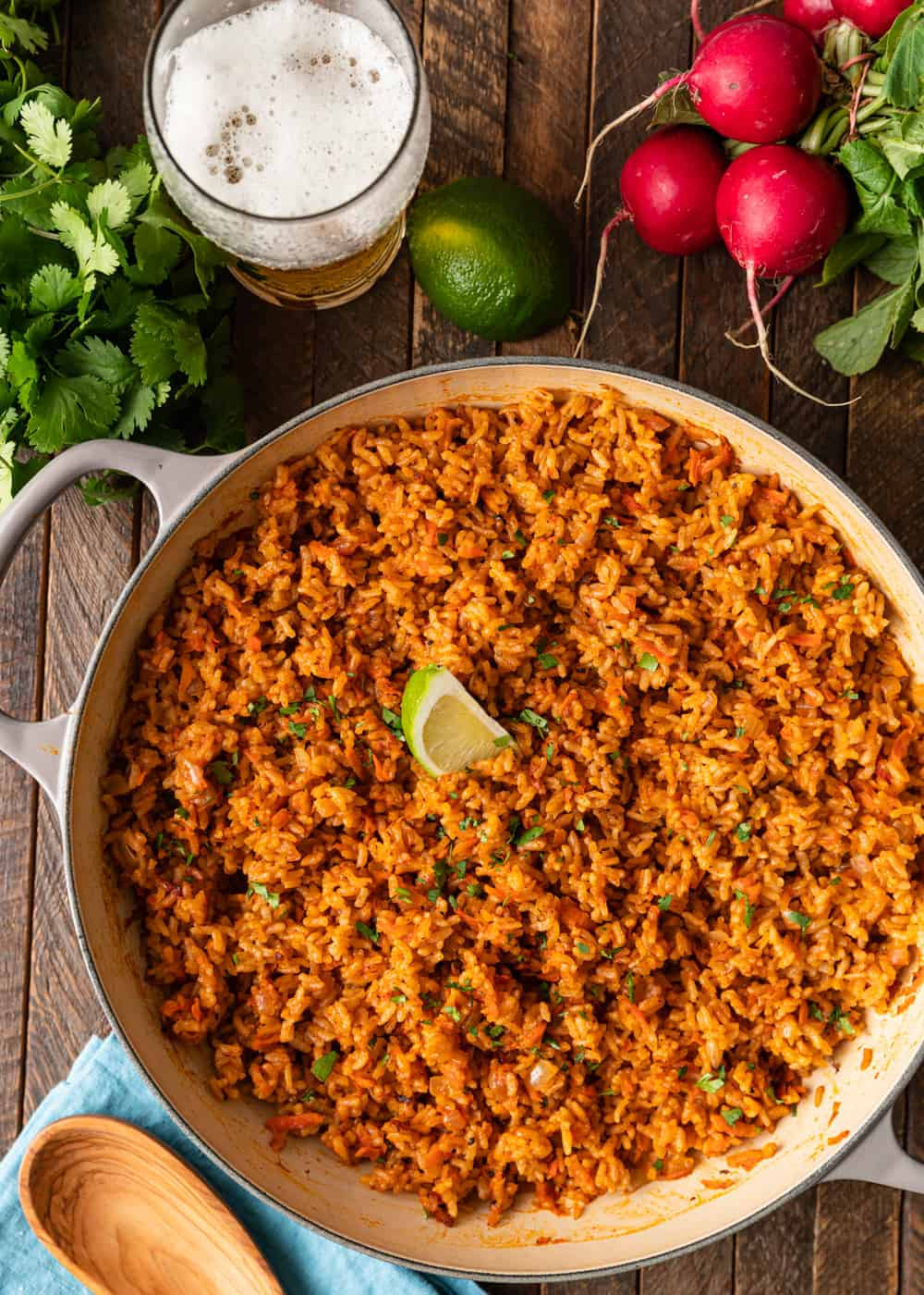 overhead image of fluffy arroz rojo in large pot
