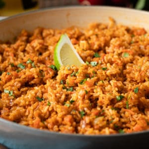 fluffy Mexican rice in large pot