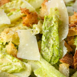 close up of homemade Caesar salad
