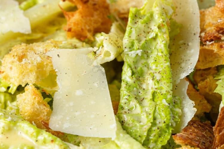 close up of homemade Caesar salad