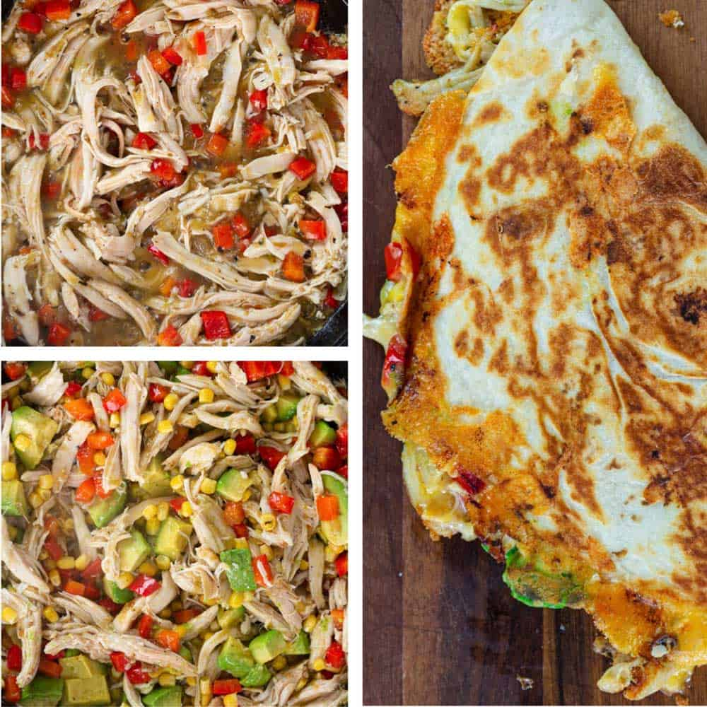 step photos show how to make a Mexican shredded chicken sandwich