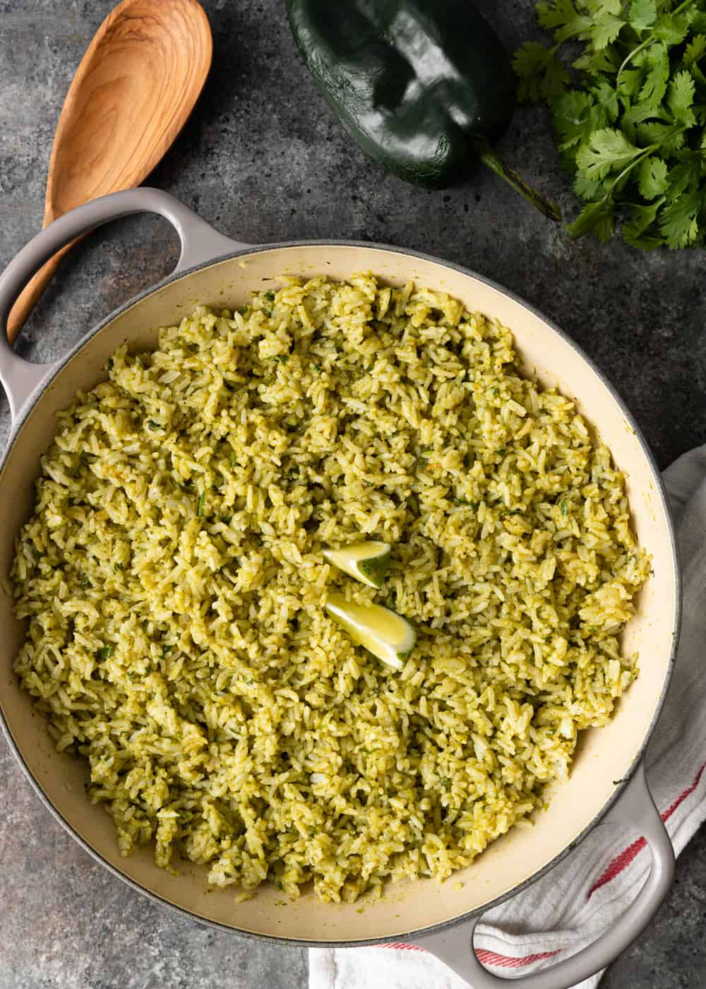 pan of arroz verde on a counter