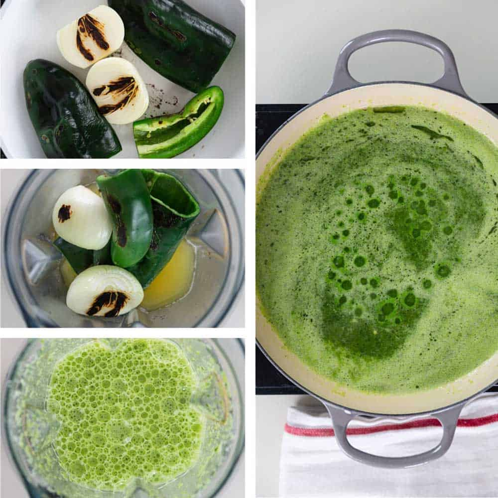 photo collage shows steps for making Mexican green rice