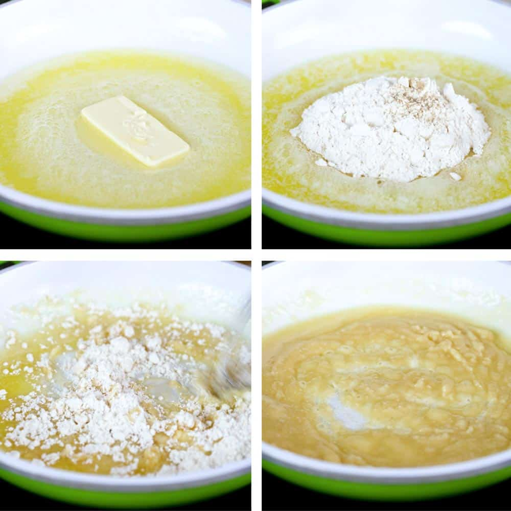 step by step photo collage shows how to make A ROUX FOR BECHAMEL