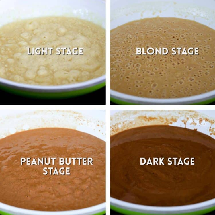 different colors of cooked roux
