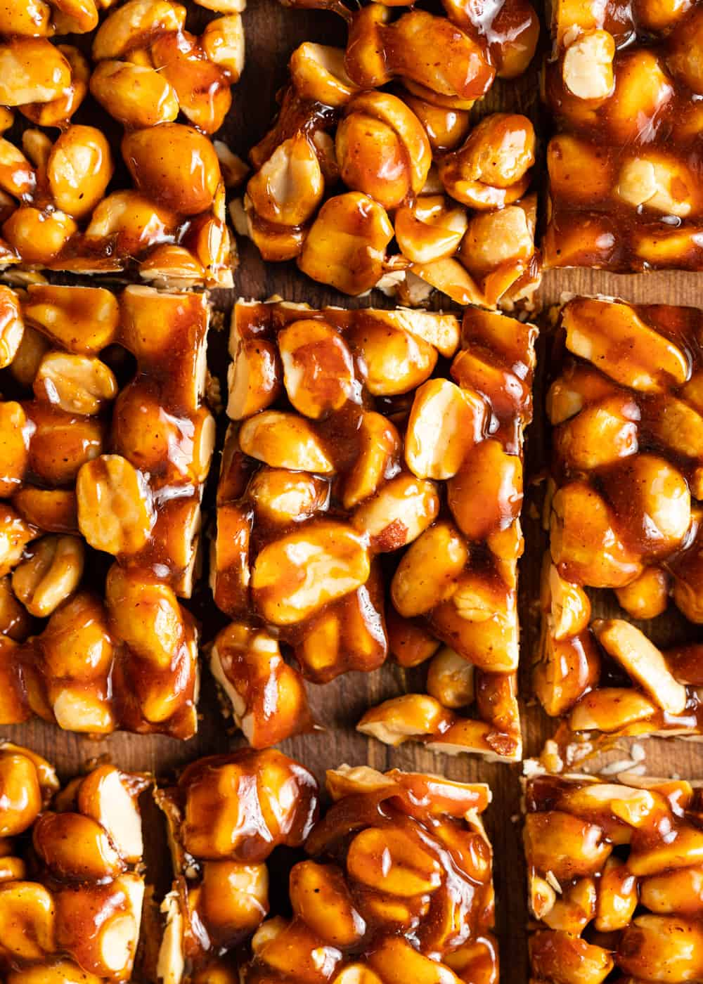 close up: squares of spicy peanut brittle