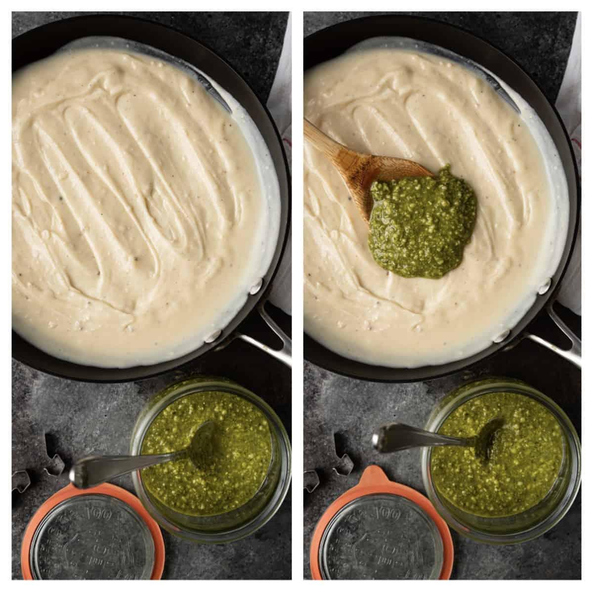 skillet of alfredo sauce and fresh pesto