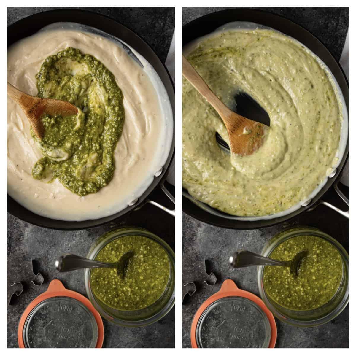 step photo of alfredo sauce and fresh pesto