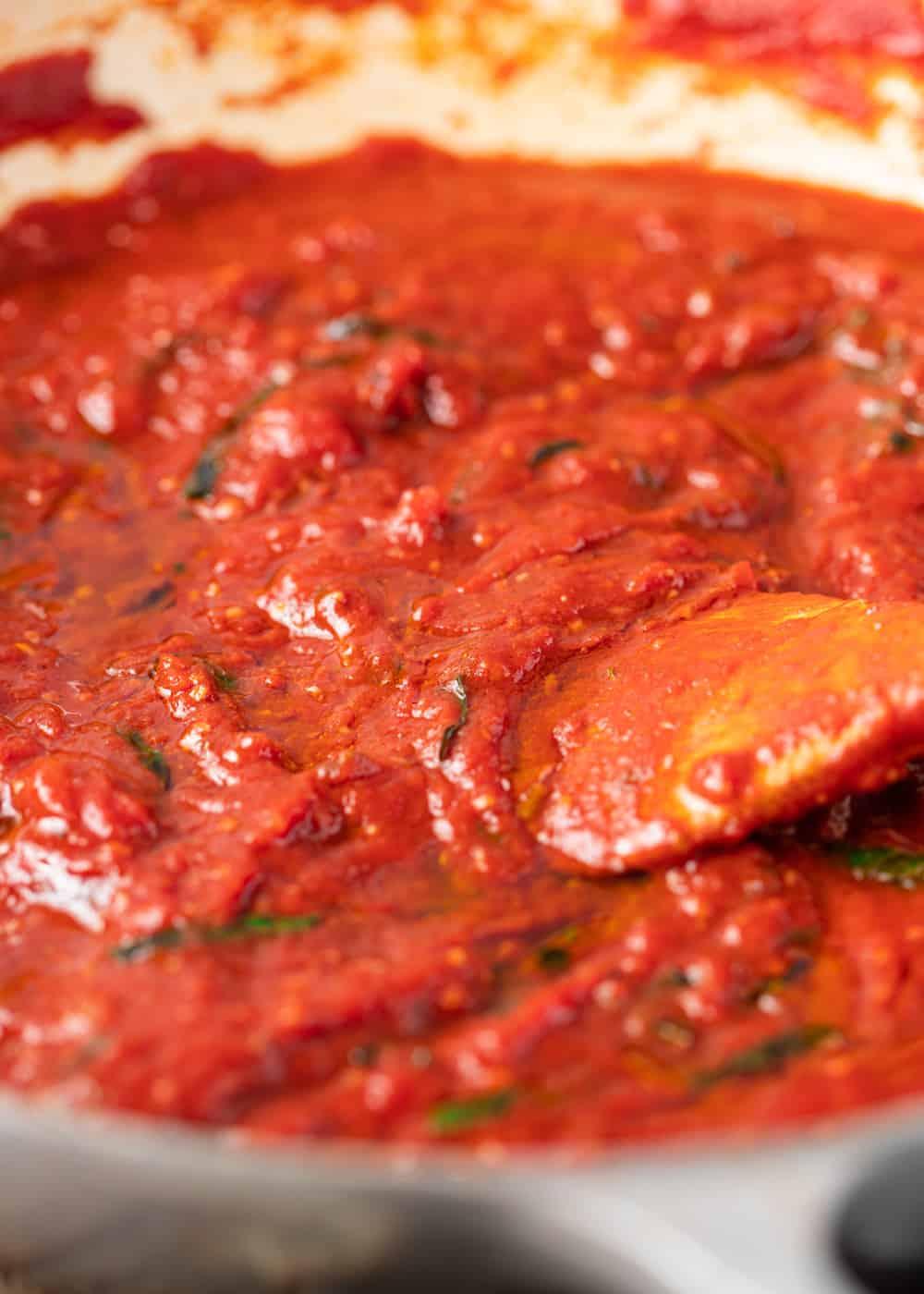 simmering pan of Spaghetti Sauce (Marinara Sauce)