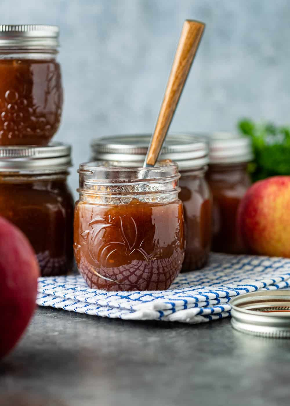 side view: canning apple butter in jars