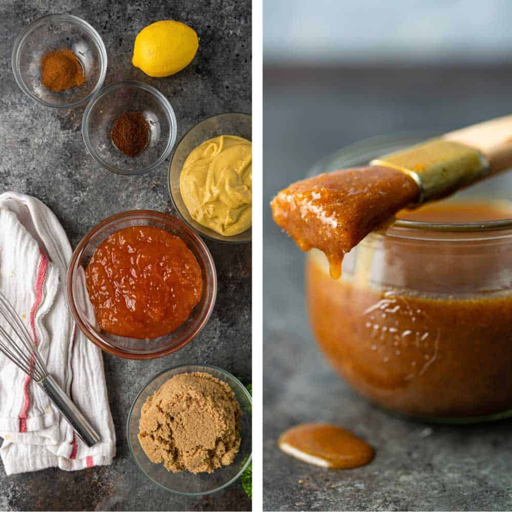 side by side photos of apricot glaze ingredients and a finished jar with a basting brush on top