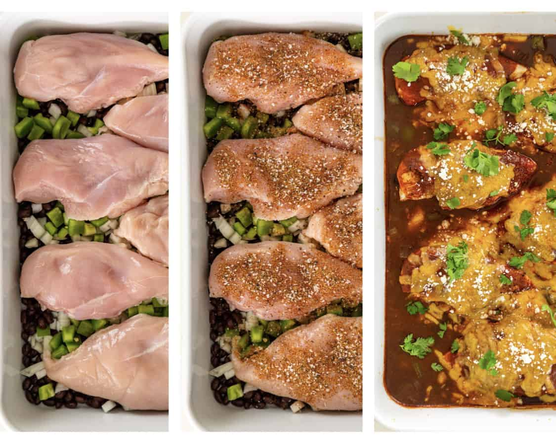 step by step photo collage shows how to make Mexican baked chicken breast dinner