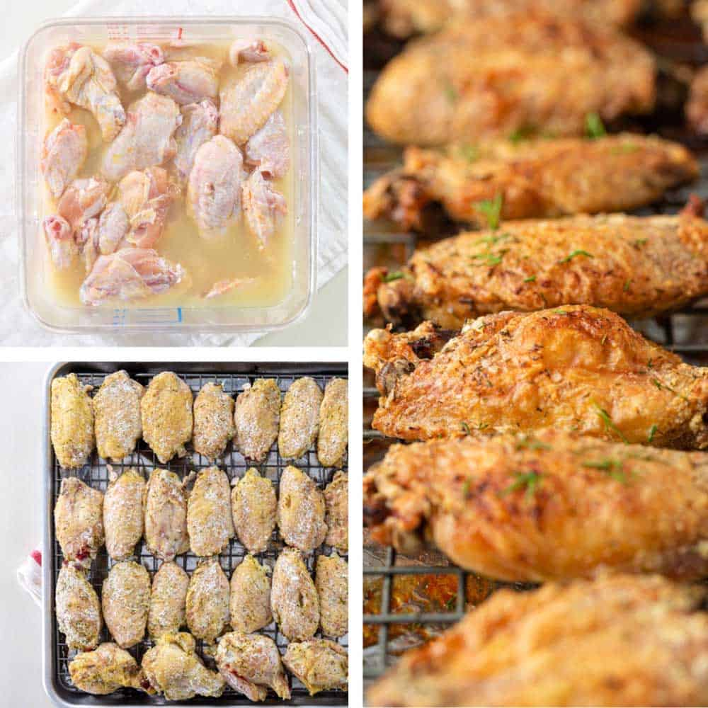 photo collage shows raw chicken wings in pickle juice marinade, on a baking sheet, and baked crispy chicken wings