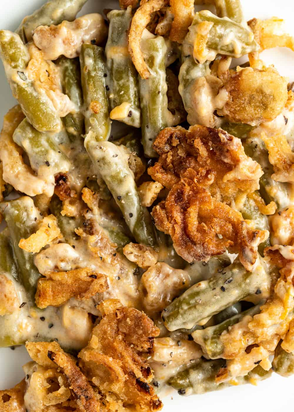 close up of French's green bean casserole