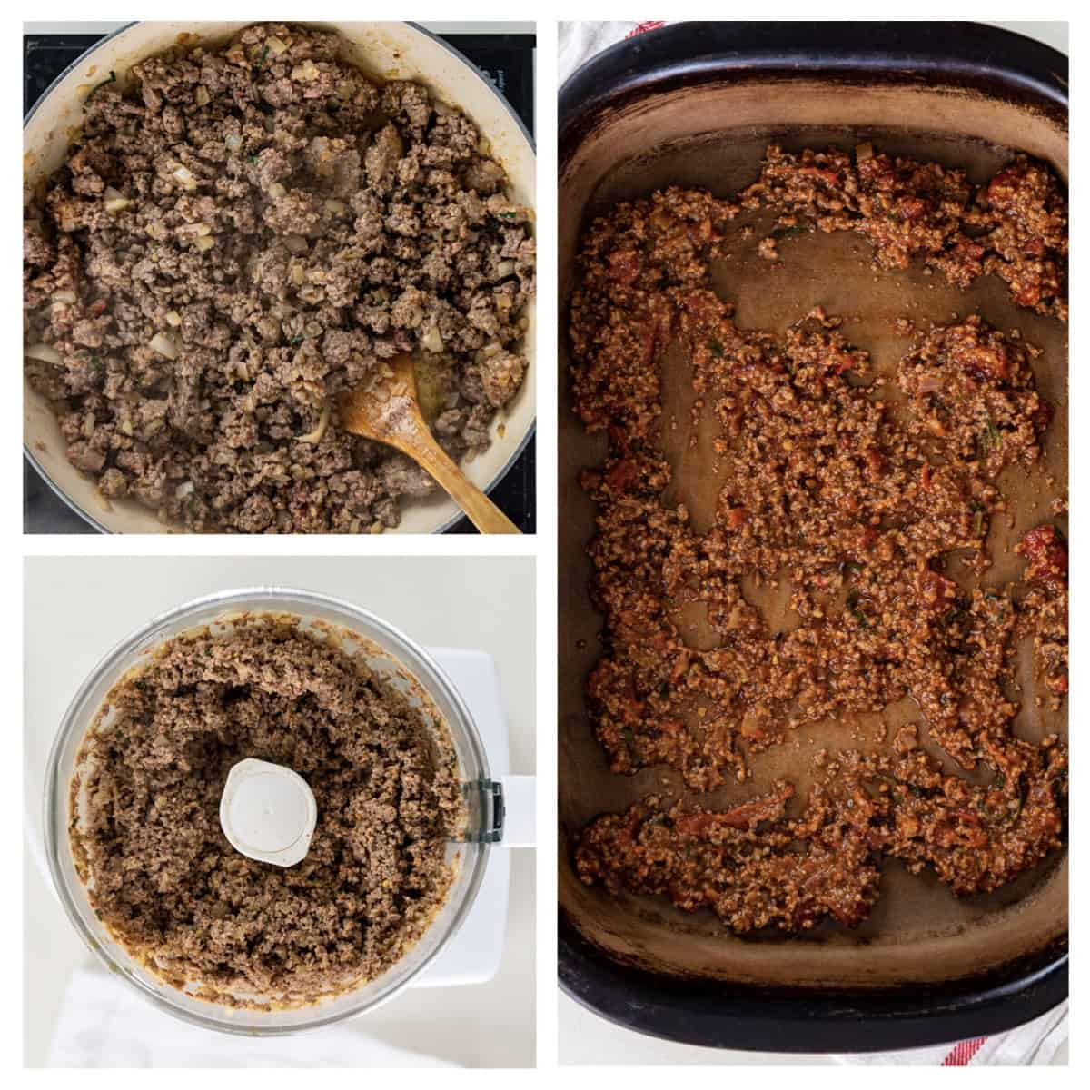 photo collage showing how to make beef and sausage bolognese