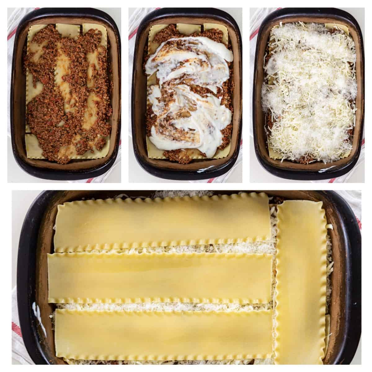 step by step photos for layering bechamel lasagna
