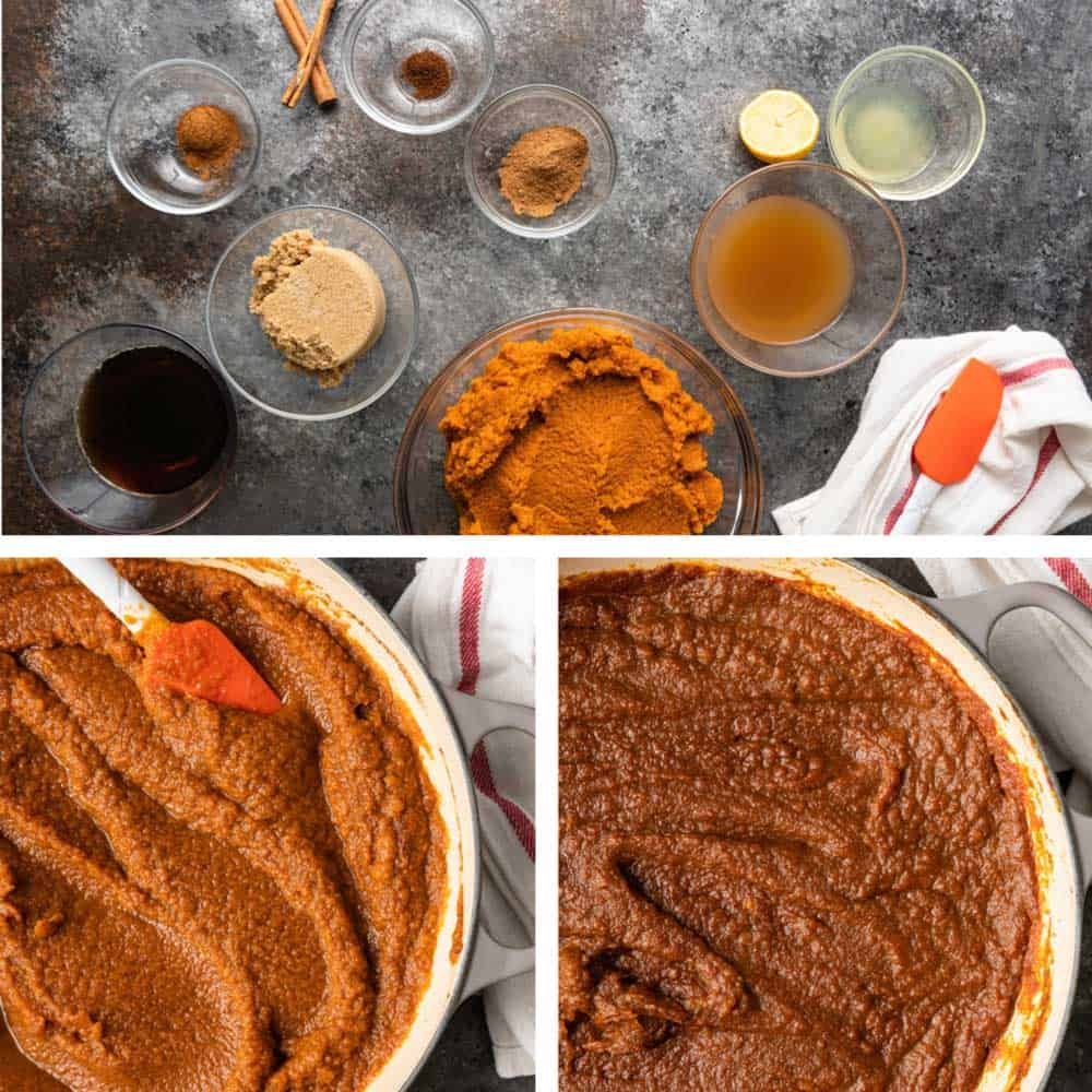 collage of images showing ingredients and how to make pumpkin butter recipe