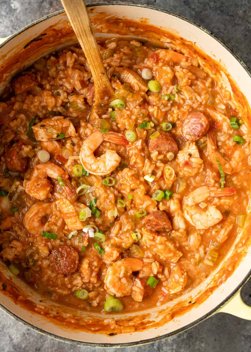 pot of easy jambalaya with a wooden spoon