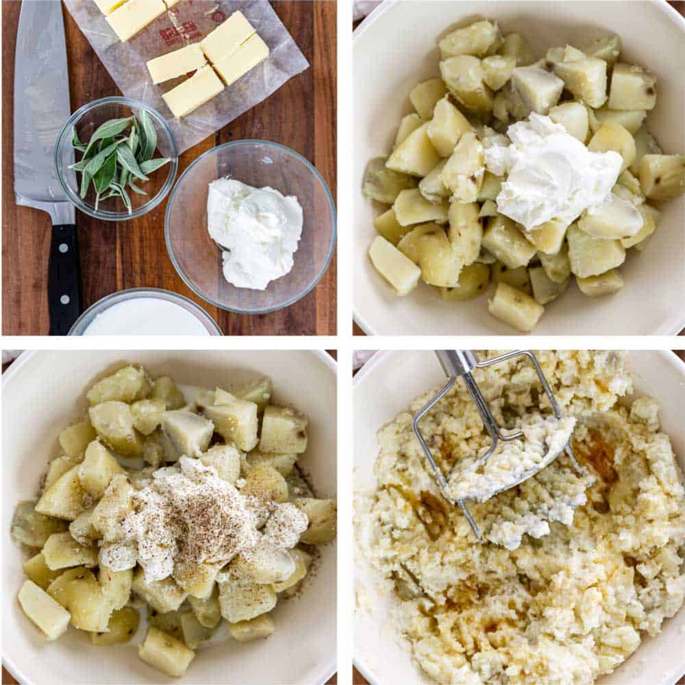 step by step photo collage shows how to make the best mashed potato recipe