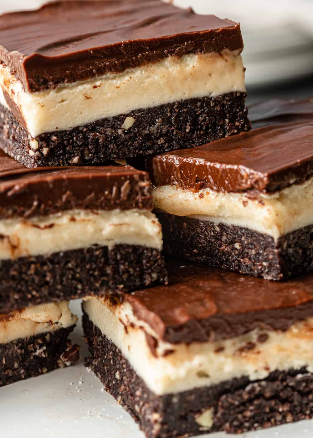 stack of no bake chocolate coconut bars
