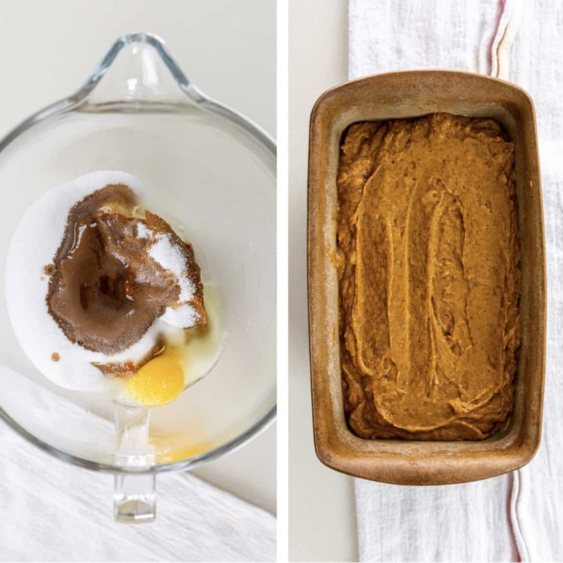 side by side photos of how to make banana pumpkin bread