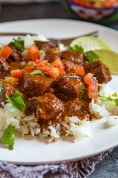 Carne Adovada served on rice