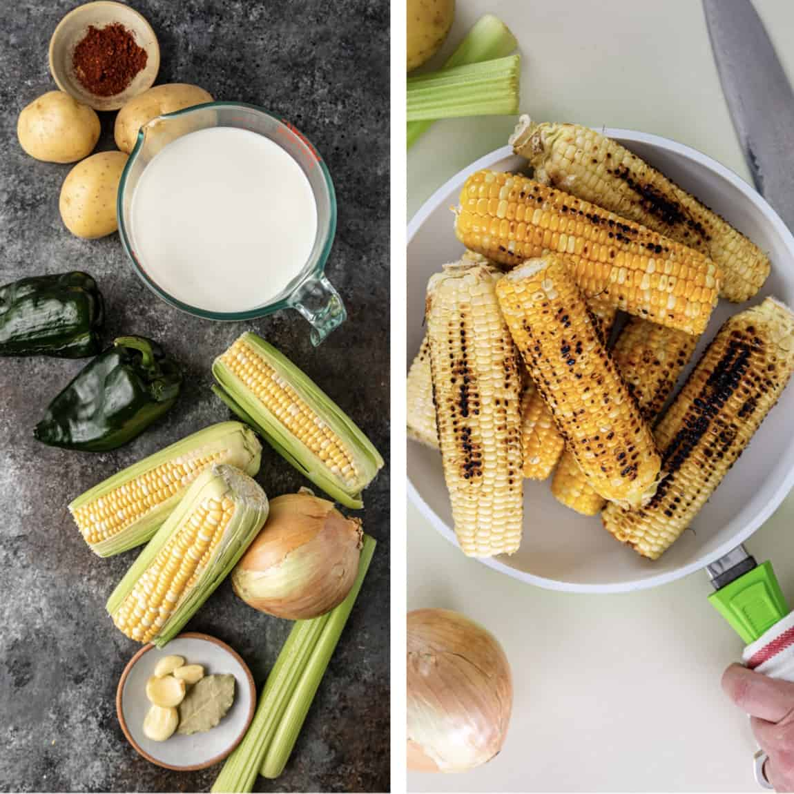 side by side photos of corn chowder ingredients and a skillet of charred corn on the cob