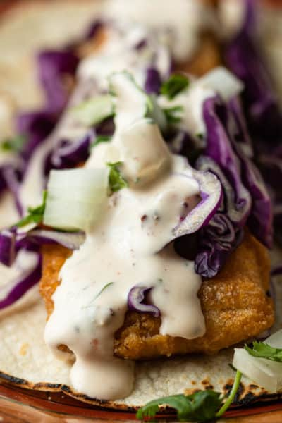 close up of baja style fish taco with fish taco sauce and slaw on top