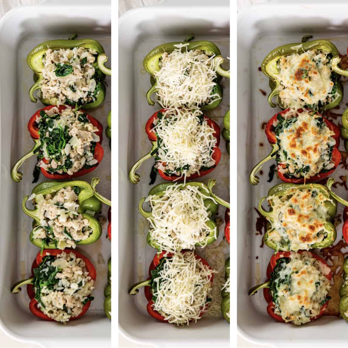 photo collage shows steps of assembling filling into bell peppers for a stuffed peppers recipe